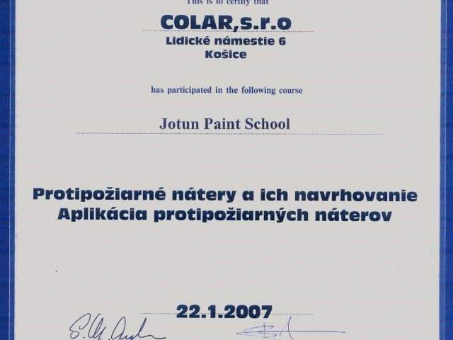 fire-proof coating license Jotun